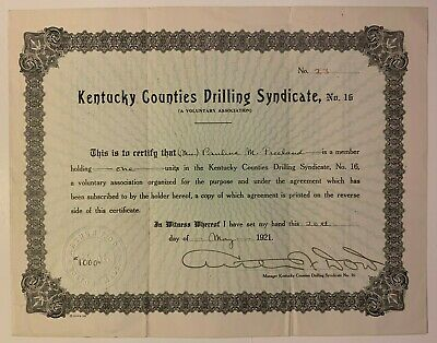 KENTUCKY COUNTIES DRILLING SYNDICATE MINING STOCK 1921 OIL GAS Warren County KY