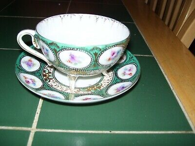 Beautiful Oriental I Believe Hand Painted & Gilded Cup On Feet And Saucer