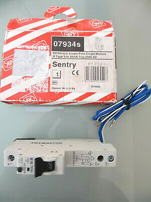 Genuine MK 16 AMP TYPE B 6kA 30mA RCBO SENTRY 07934s Single pole module Trip AC