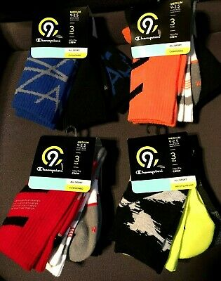 Lot Of 3 Champion C9 Socks Boys All Sport Youth Crew Cushioned Med 9 - 2.5 New