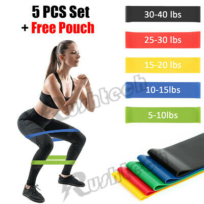 Resistance Loop Bands 5 PCS Set Strength Fitness Exercise Yoga Workout Pull Up