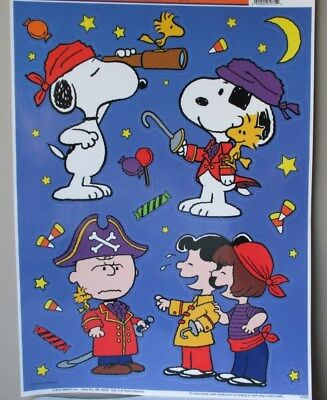 Set of 18 Pirates New Peanuts Snoopy Charlie Brown Halloween Window Cling Sheet