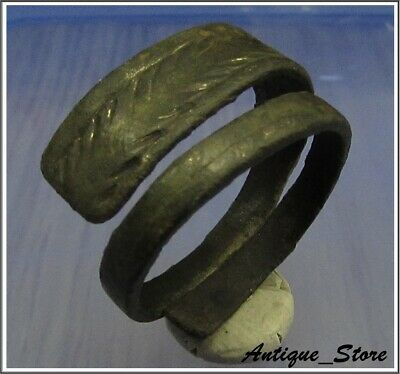 ** SPIRAL - SNAKE ** Ancient CELTIC Bronze Ring ** IRON AGE **