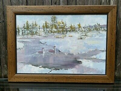2 Swans Frozen Pond Palette Knife Oil Painting Signed Illegible Ice Water Winter