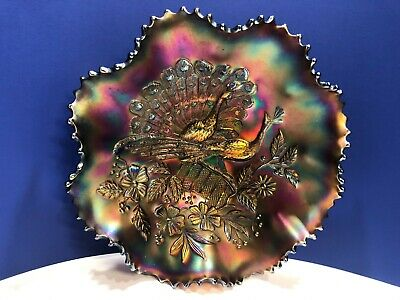 Antique Northwood Peacocks On The Fence Amethyst Carnival Glass Ribbed Bowl
