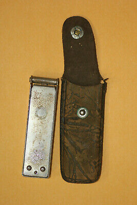 Antique midget folding collapsing travel coat hanger with leather pouch
