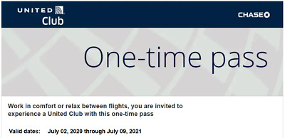 United Airlines Club One-Time Pass (Expires Aug 15, 2021) E-Delivery Available