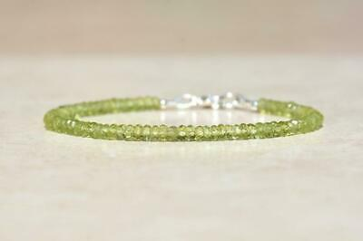 """Genuine Top Quality Green Peridot 3-4mm Rondelle Faceted Beaded Bracelet 7""""."""