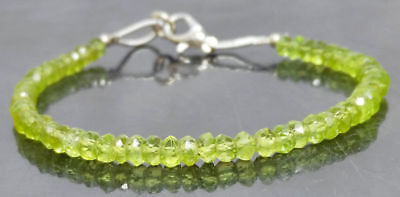 """Natural Top Quality Peridot Gemstone 4mm Rondelle Faceted Jewelry 7"""" Bracelet."""