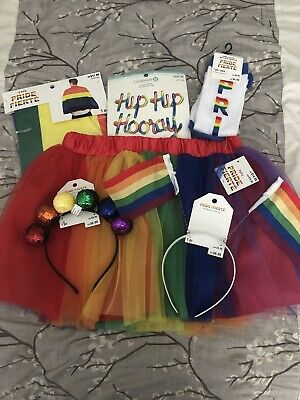 Rainbow Pride Lot Socks, Balloons, Cape, Headbands, Tutu