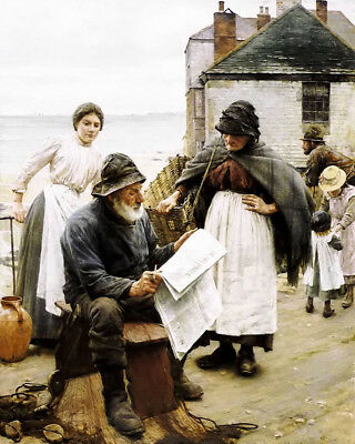 Dream-art Oil painting walter langley - when the boats are away elder newspaper