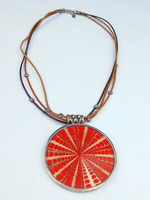 Silpada 925 Sterling Silver Red Circle Medallion Pendant Leather Cord Necklace