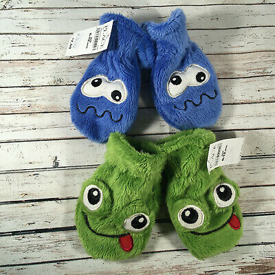 Lot 2 pair Baby Boy 6-12 months Winter Mittens Gloves Green Frog Blue Monster