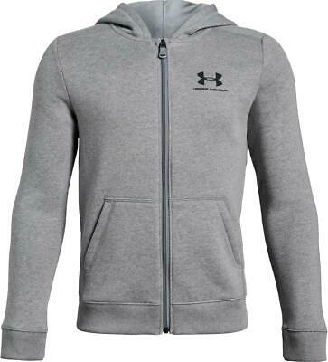 Under Armour boys Rival fleece zip up hoodie in grey. Sweat top. Various sizes!