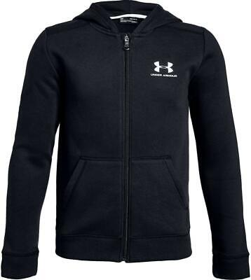 Under Armour boys Rival fleece zip up hoodie in black. Sweat top. Various sizes!