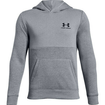 Under Armour boys EU Cotton fleece hoodie in grey. Sweat top. Various sizes!