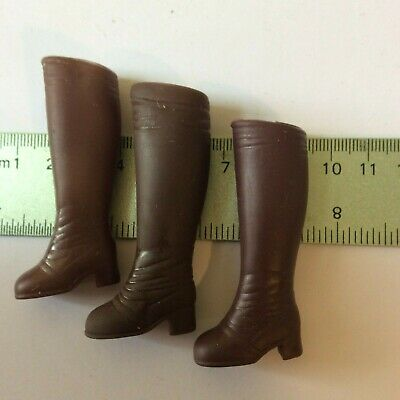 Sindy doll Three Brown Boots not matching - vintage dolls clothes accessories