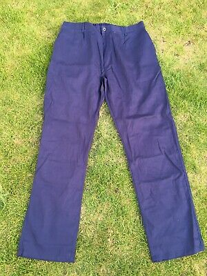 Vintage French Blue Cotton Twill Utilty Workwear Chore Trousers 38W 36L