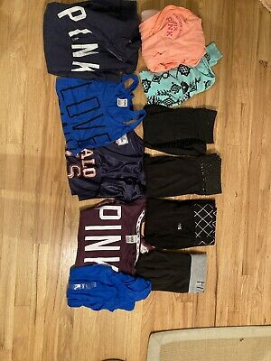 Victoria's Secret Pink Womens Leggings And Tops Size XS Lot Of 11