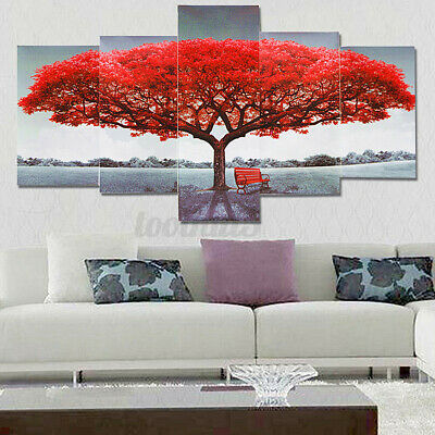 5Pcs Red Tree Modern Canvas Oil Painting Wall Art Home Picture Print