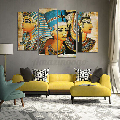 4Pcs/Set Pharaoh Modern Canvas Oil Painting Picture Home Wall Art Deco