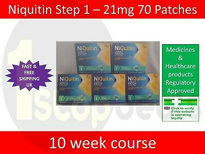 Niquitin Patches Step 1 - 21mg x 70 Patches UK SELLER EXP 08/2022 STOP SMOKING