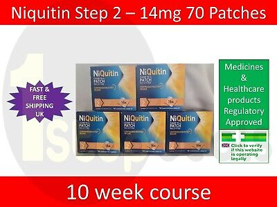 Niquitin Patches Step 2 - 14mg x 70 Patches UK SELLER EXP 08/2021 STOP SMOKING