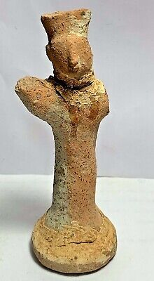 SCARCE ANCIENT NEAR EASTERN TERRACOTTA DECORATED WORSHIPPER STATUE 141mm