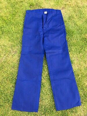 Vintage French Blue Cotton Twill Utilty Workwear Button Fly Trousers 32W 32L