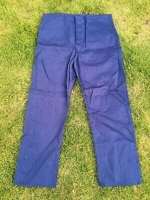 Vintage French Blue Cotton Twill Utilty Workwear Button Fly Trousers 36W 30L