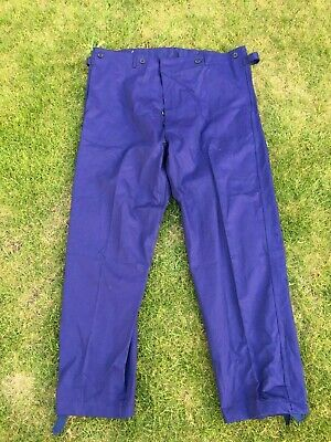 Vintage French Blue Cotton Twill Utilty Workwear Button Fly Trousers 44W 33L