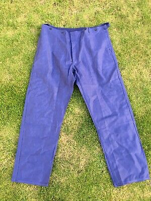 Vintage French Blue Cotton Twill Utilty Workwear Button Fly Trousers 42W 33L