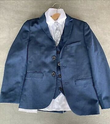Next Boys Navy 4 Piece Suit With White Shirt And Tie, Age 9, Worn Once