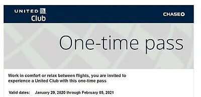 United Airlines UA Club One-Time Pass E-Delivery (Expires Feb 05, 2021)