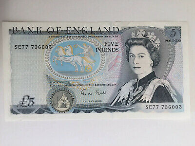 BANK OF ENGLAND FIVE POUND NOTE About UNC G.M. GILL PREFIX: SE 77 736003
