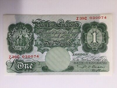 Bank Of England, One Pound Banknote, PS Beale   Uncirculated Z39C 030074,