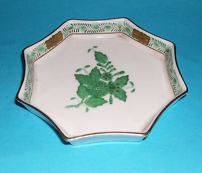 Herend Porcelain Hungary - Attractive Hand Painted Octagonal Gilded Pin Dish.