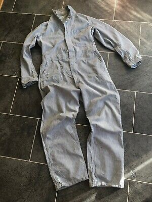 Vintage 70s Workwear Industrial Clothing Stripe Overalls Coveralls Boilersuit