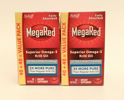 Lot of 2 Schiff MegaRed Omega-3 Krill Oil Softgels 500mg Extra Strength 160 Gels