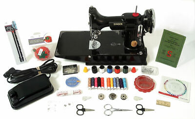 Rare 1938 Scroll Face Gorgeous 221 Singer Featherweight Sewing Machine + Extras!