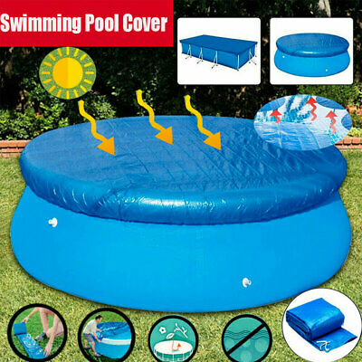 Blue 8 ft//10 ft//12 ft Swimming Pool Cover Tarp Round Easy Set Outdoor Backyard