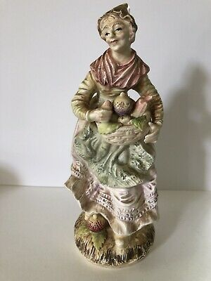 Antique European Bisque Porcelain Fruit seller Figurine/ Statue