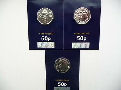 2019 Snowman,Gruffalo & Mouse And Wallace & Gromit 50p BU Coins.Certified - New.