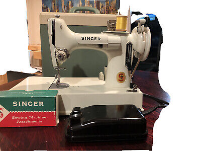 singer featherweight 221 sewing machine white