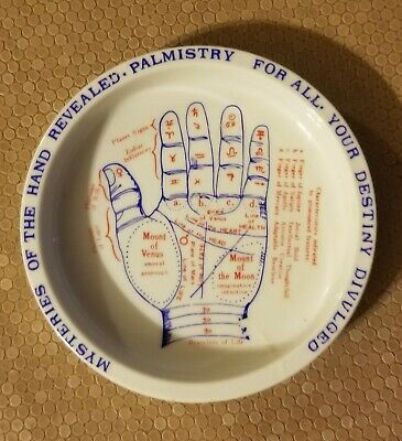 Antique Palmistry, Hand / Palm Reading Chart.  Porcelain Dish or Tray,  JAPAN!!!