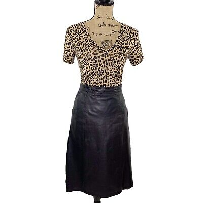 Vintage Black Leather Pencil Skirt Midi Length with Pockets size Medium M