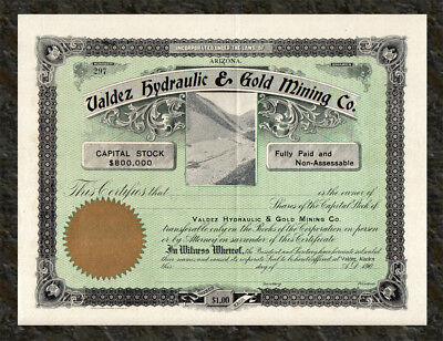 ⛏ Early 1900s VALDEZ ALASKA Hydraulic and Gold Mining Company Stock Certificate