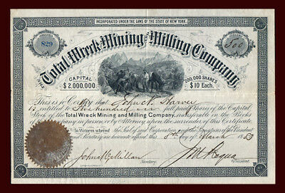 1883 Total Wreck Mining & Milling Co Stock PIMA ARIZONA TERR Ghost Town ⛏ Silver