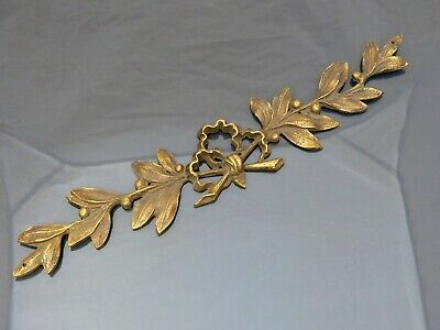 "1920 Antique French Gilded Bronze Shell Pediment Hardware Furniture Salvage 13""."