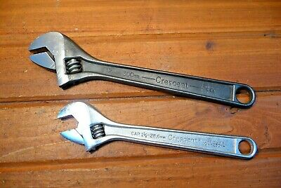 """2 Vintage CRESCENT Wrenches 12"""" & 10"""" Crestoloy Adjustable Hand Tool Wrench USA"""